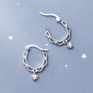 NEW 925 Sterling Silver Lace Diamond Huggie Hoops